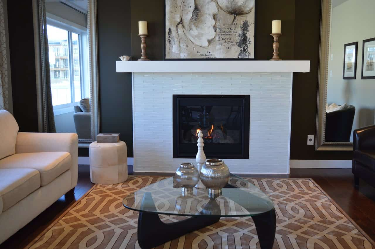 closer up on white fireplace unit